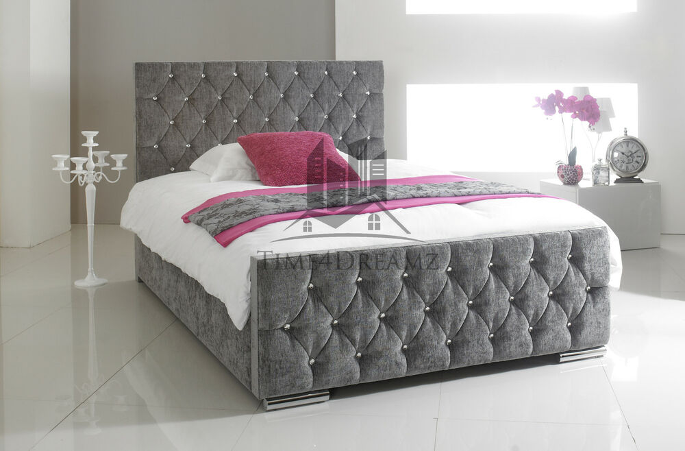 Stylish Grey Fabric Upholstered Bed Frame Chenille 4ft6