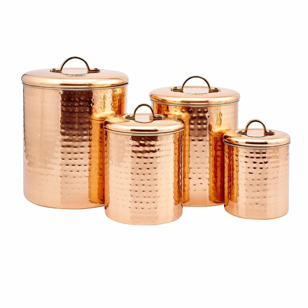 kitchen canister set copper kitchen canisters set containers stainless steel country rustic metal new ebay 8682