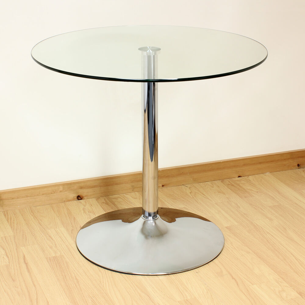 Hartleys 80cm Clear Chrome Round Glass Dining Kitchen Table Bistro Cafe Style Ebay