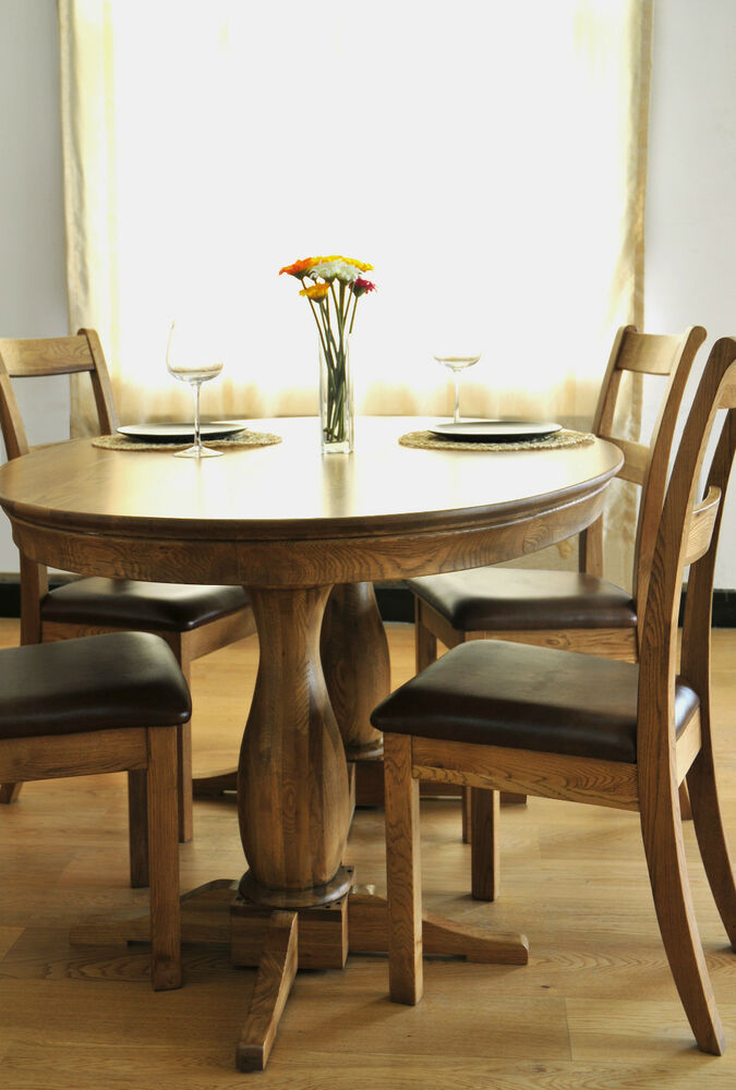 Paris Solid Oak Round Oval Kitchen Dining Table Set With