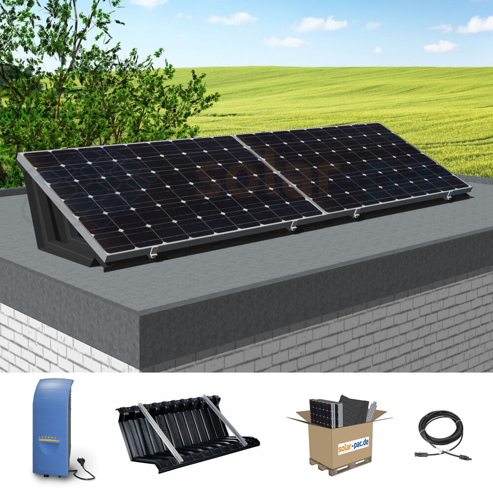 530 watt wp solaranlage f r flachdach garage plug play pv aktion ebay. Black Bedroom Furniture Sets. Home Design Ideas