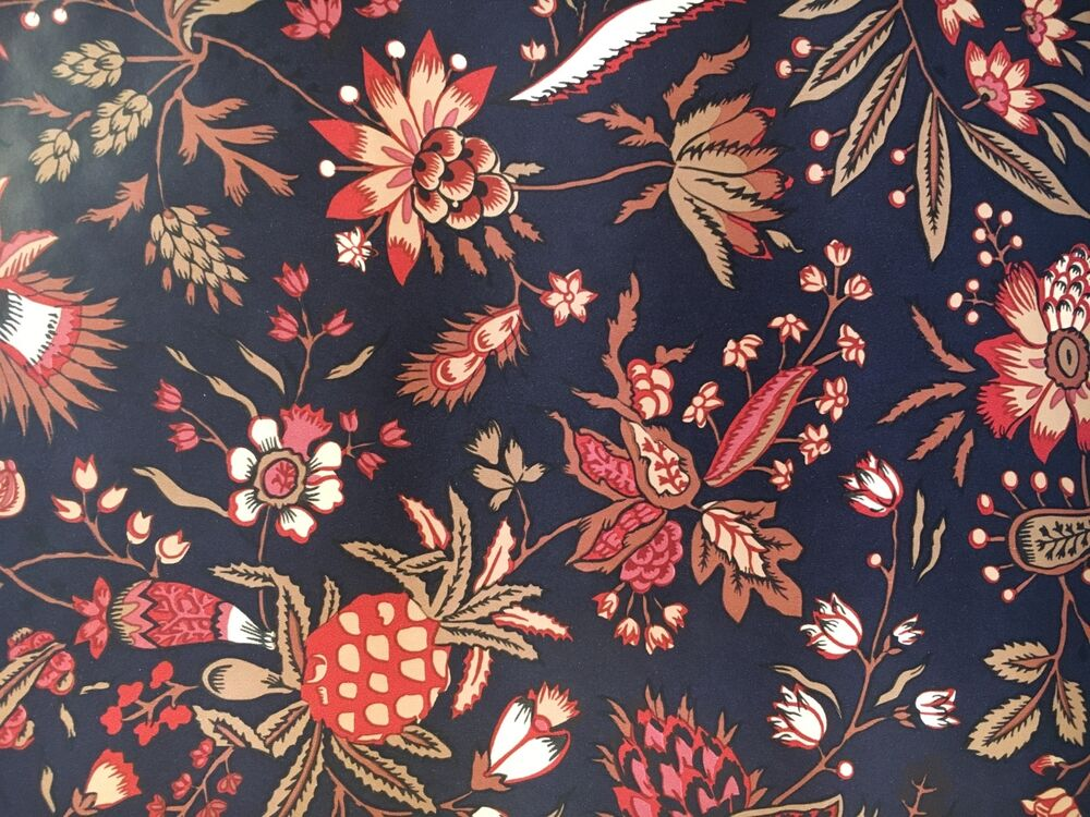 motif vintage wallpaper french country floral black rust and tan ebay. Black Bedroom Furniture Sets. Home Design Ideas