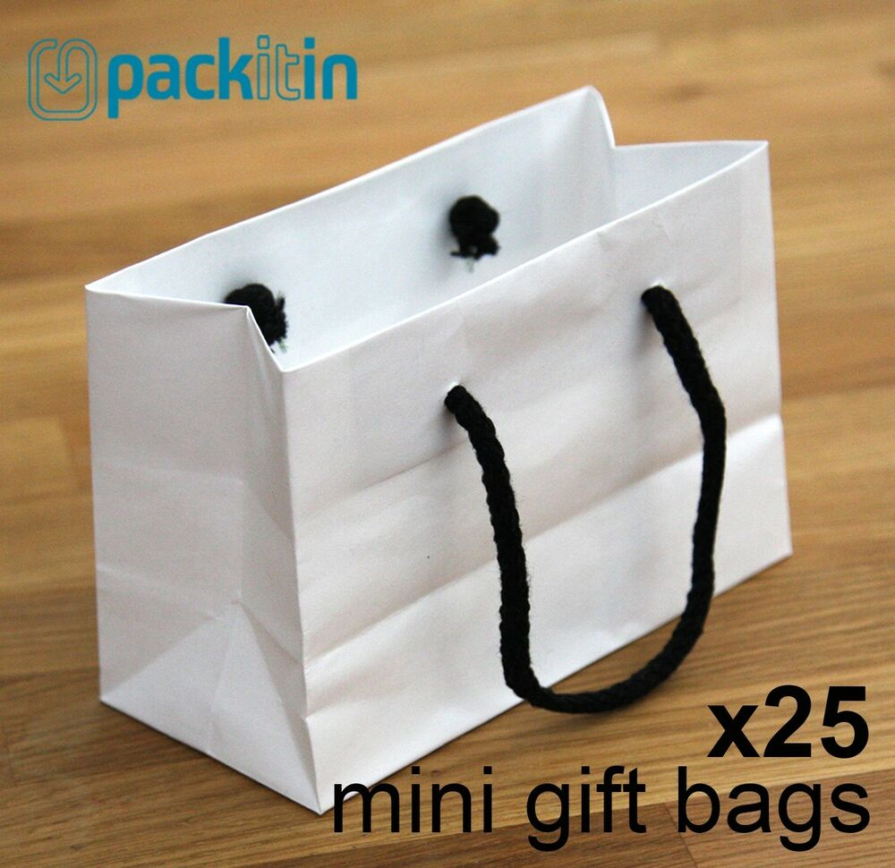 X25 Mini White Paper Gift Carry Party Bags With Black Rope
