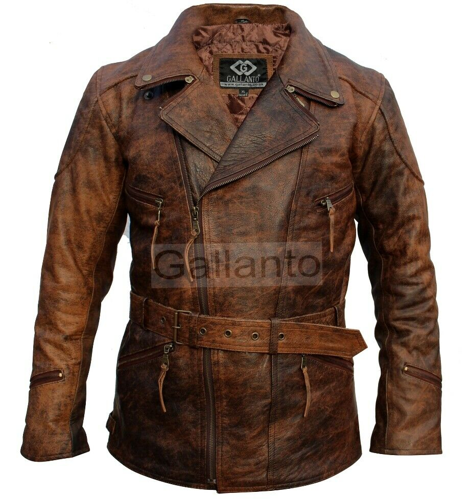 Eddie Mens 3/4 Motorcycle Biker Brown Distressed Vintage ...