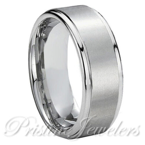 Rubber Wedding Rings For Men >> Titanium Silver Men Brushed Comfort Fit Engagement Wedding Band Promise Ring NEW | eBay