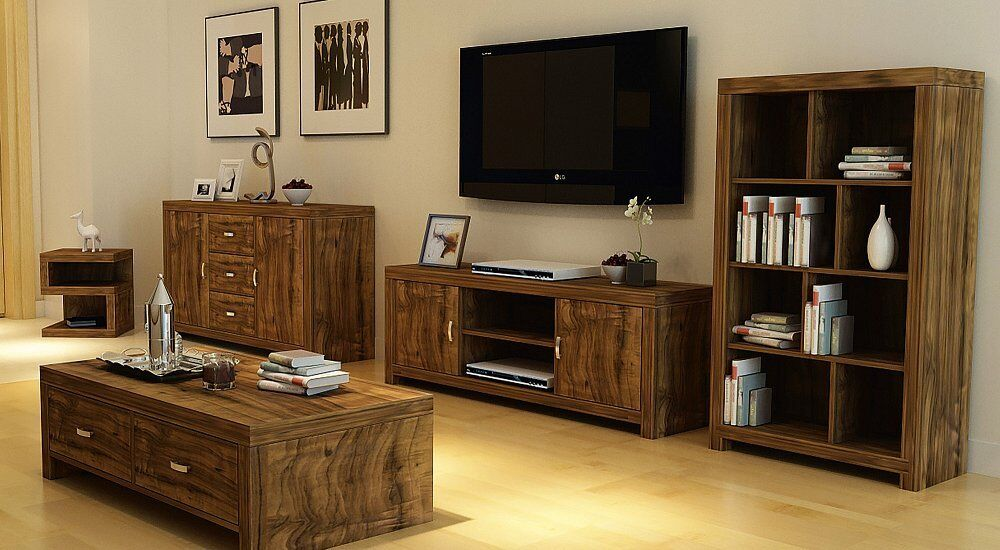 luxury living room furniture set acacia effect coffee table sideboard tv stand ebay. Black Bedroom Furniture Sets. Home Design Ideas