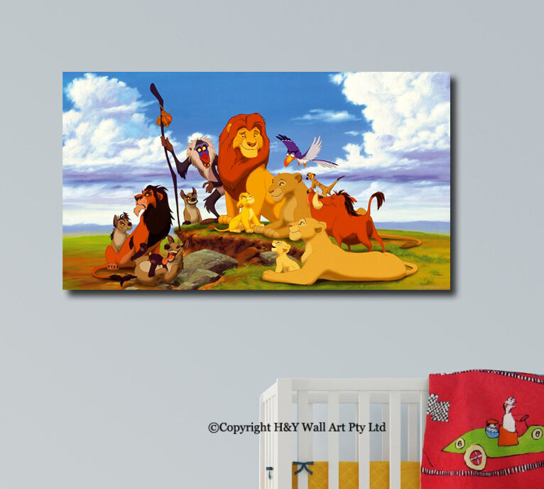Lion King Stretched Canvas Print Framed Wall Art Kids Nursery Decor Painting