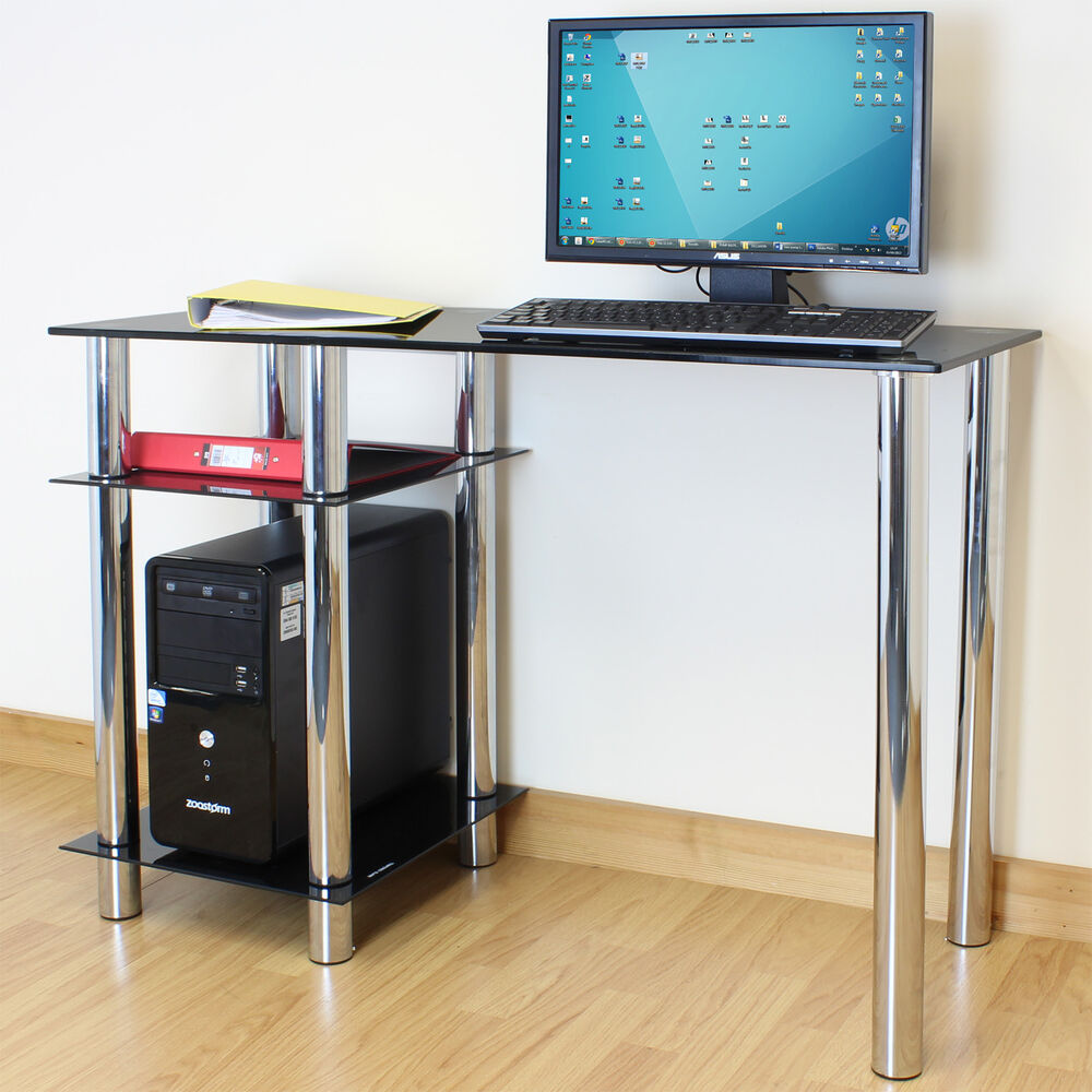 Black Glass Top PC Computer Desk with Base Unit Shelf Home Office