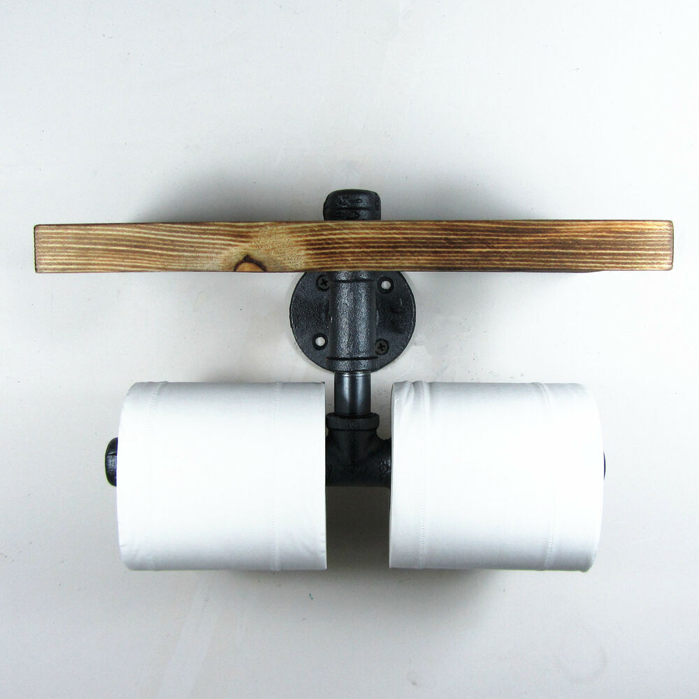 urban industrial iron pipe wall mount double toilet paper holder with wood shelf ebay. Black Bedroom Furniture Sets. Home Design Ideas