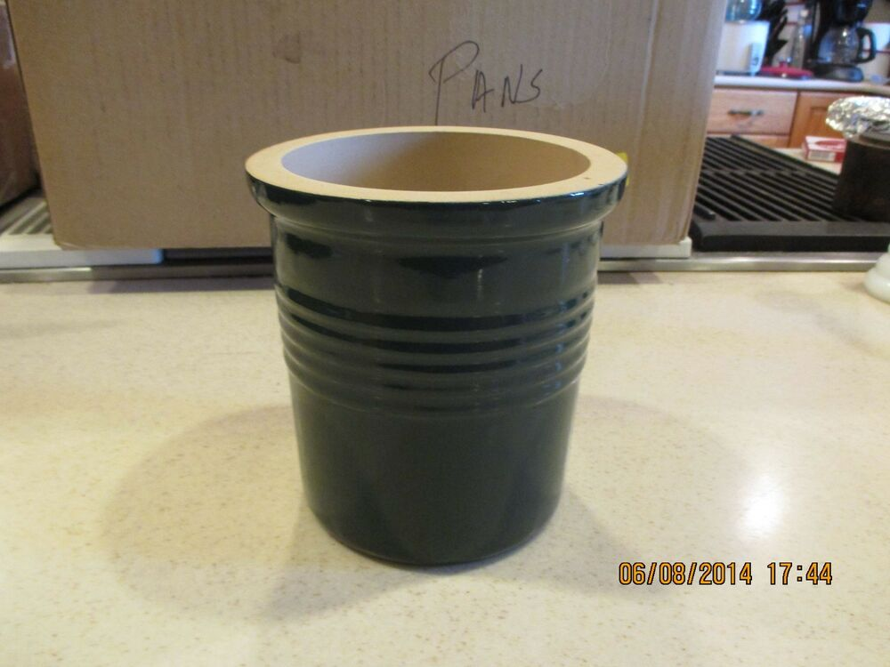 Pampered Chef Olive Green Utensil Crock Wine Holder Usa Ebay
