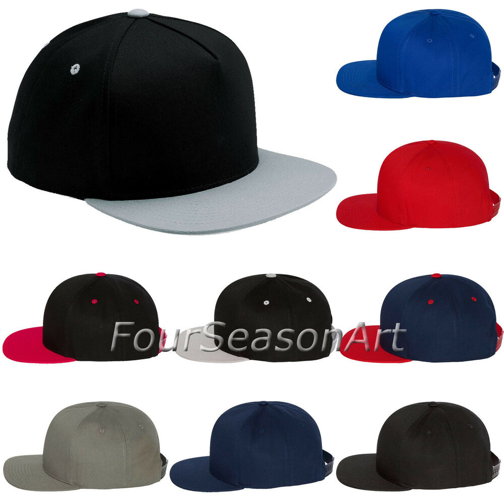 8e810523cd4c4 Details about Yupoong Mens Five-Panel Flat Bill Cap Baseball Hat 6007
