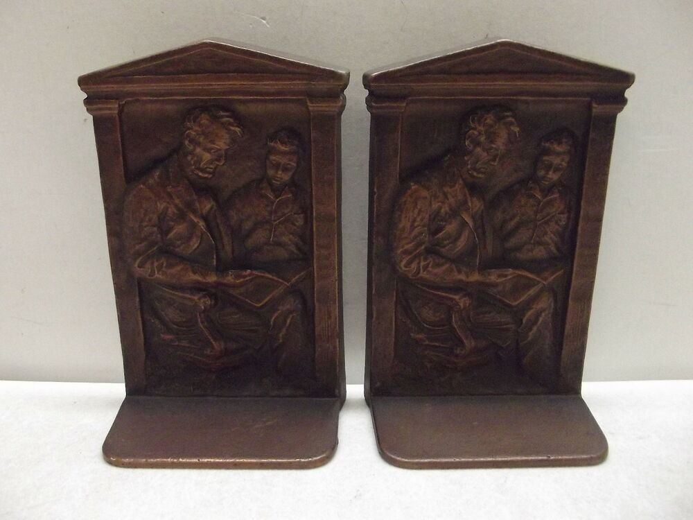 art deco bronze patina 1922 o p muller cast iron abraham lincoln bookends ebay. Black Bedroom Furniture Sets. Home Design Ideas