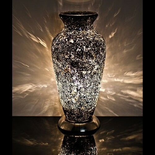 Fabulous Mosaic Glass Crackle Black Vase Lamp Ebay