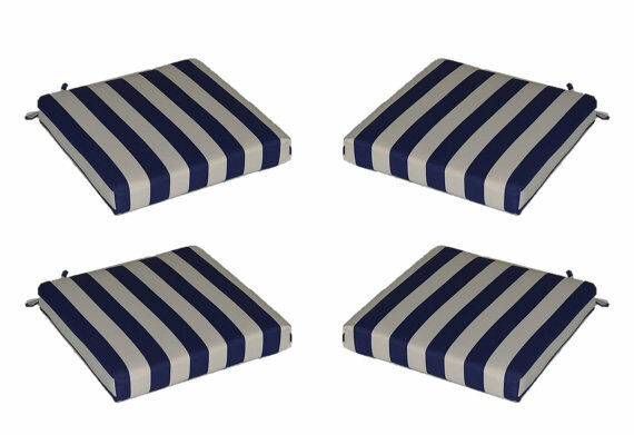 Set Of 4 In Outdoor Foam Seat Cushions Navy Blue White