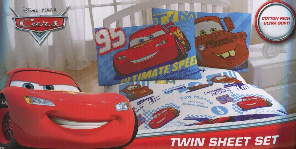 disney pixar cars 2 twin sheet set lightning mcqueen ebay