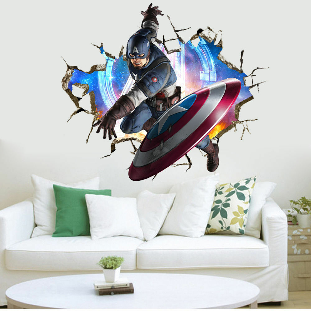 Captain america marvel avengers wall stickers kids room for Stickers para pared decorativos