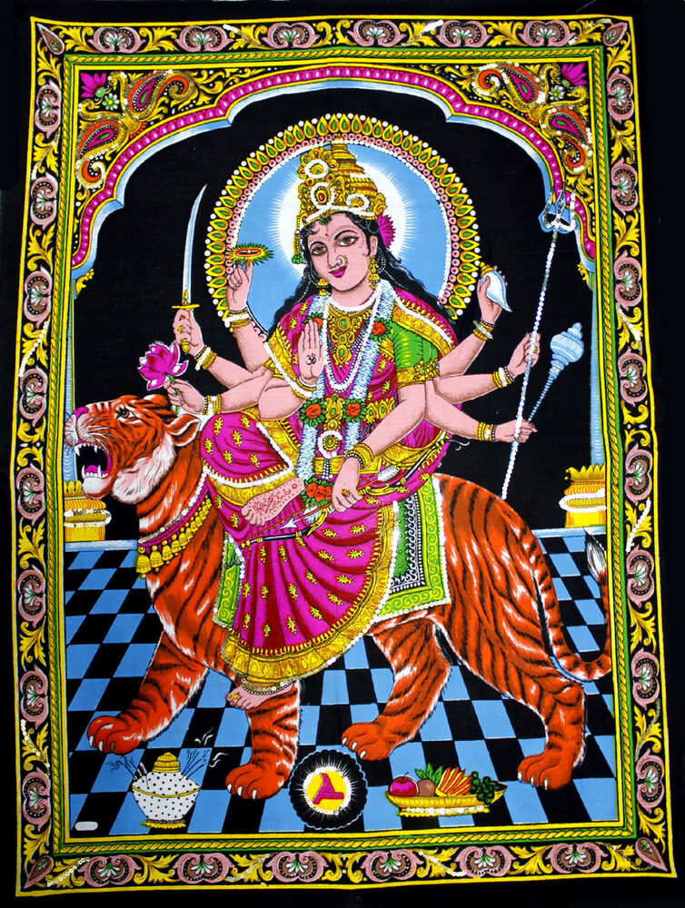 Indian Goddess Durga Sequin Batik Wall Hanging Tapestry Ebay