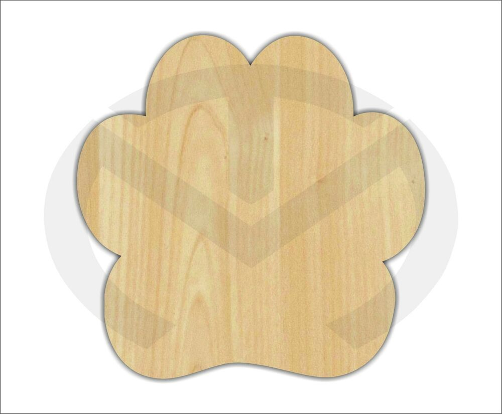 Unfinished Wood Paw Print Laser Cutout Wreath Accent