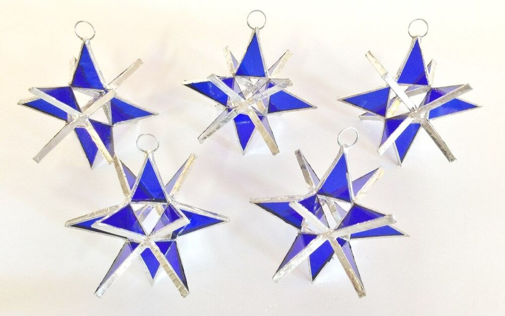 lot of 5 stained glass moravian stars iridescent navy blue handmade  ornament