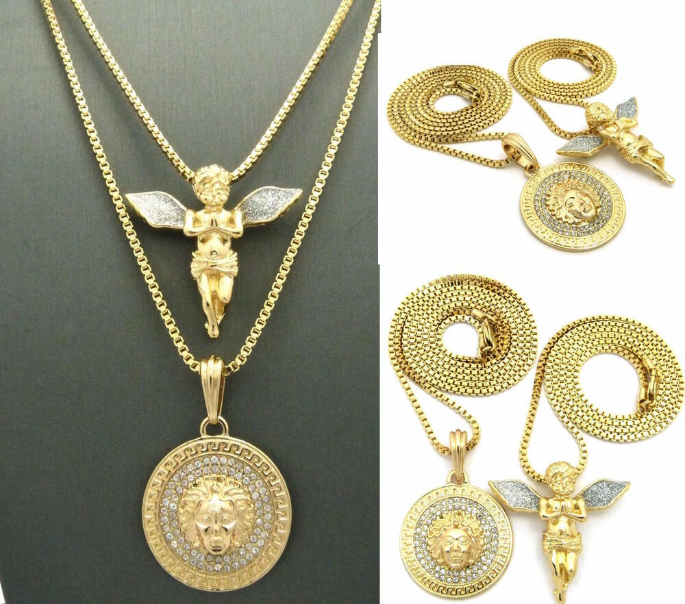 MENS NEW ICED OUT GOLD MICRO MEDALLION AND ANGEL PENDANT ...