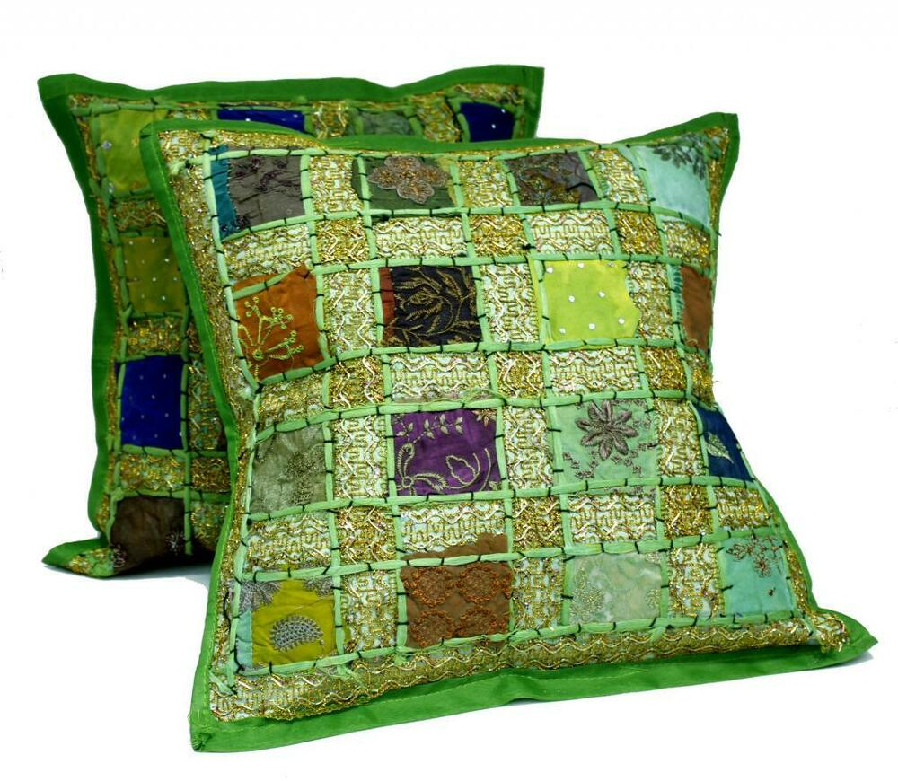 10 green embroidery sequin patchwork indian pillow cushion covers wholesale lot ebay. Black Bedroom Furniture Sets. Home Design Ideas