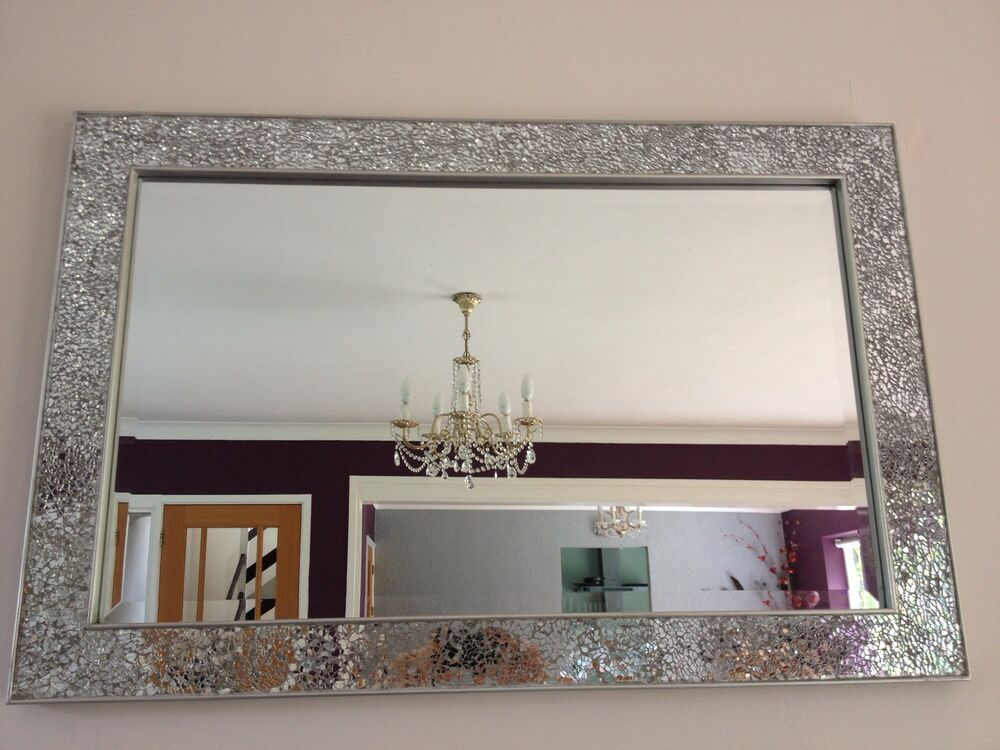 Silver Mirror Wall Photo Frame: Crackle Mirror Mosaic Beveled Edge Silver Frame Glass
