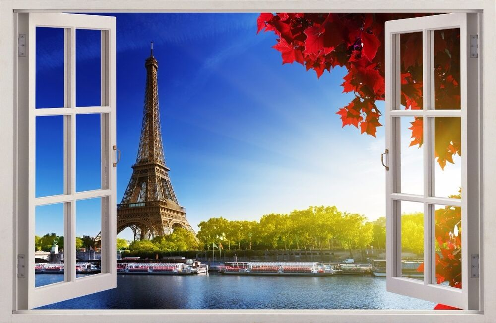 wandaufkleber fenster 3d paris eiffelturm wand dekor aufkleber wandtattoo 08 ebay. Black Bedroom Furniture Sets. Home Design Ideas