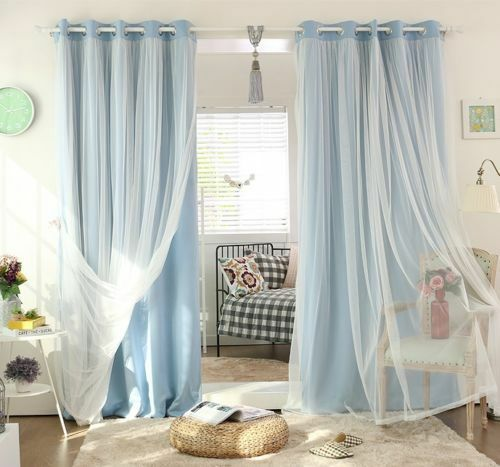 BLOCKOUT EYELET CURTAINS Double Layer Bridal Lace GIRLS