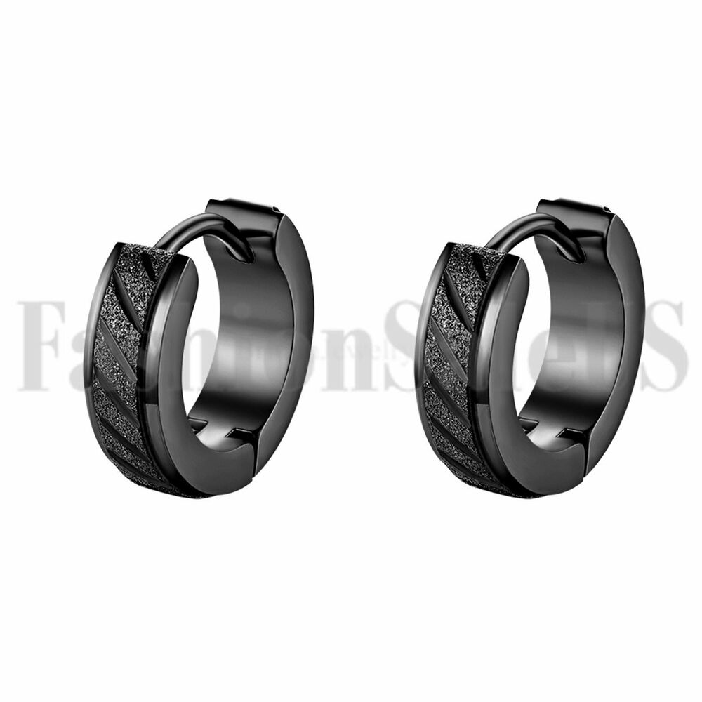 2pcs Men S Classic Cool Wide Black Stainless Steel Charm