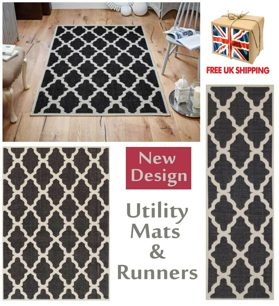 Black And White Rug Ebay Uk: Trellis Flatweave Utility Mats Kitchen Rugs Hall Runners