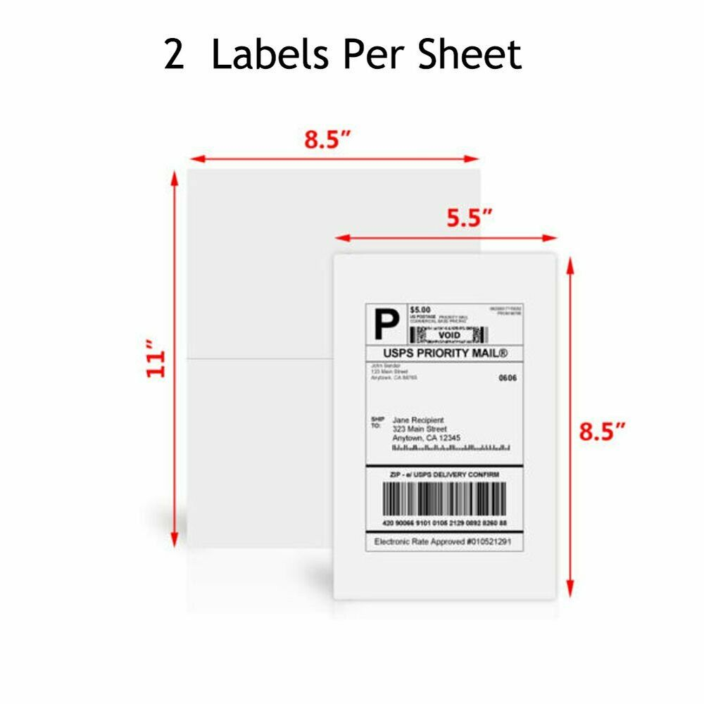 Premium 500 half sheet shipping labels self adhesive blank for Half page shipping labels