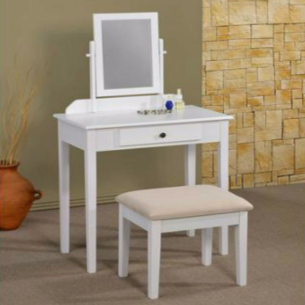 Vanity set table mirror stool makeup wood bedroom drawer furniture storage white ebay - Stool for vanity table ...