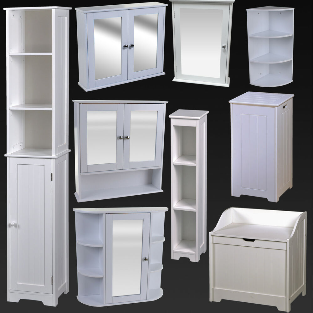 white bathroom furniture cabinet shelving laundry bin mirror door