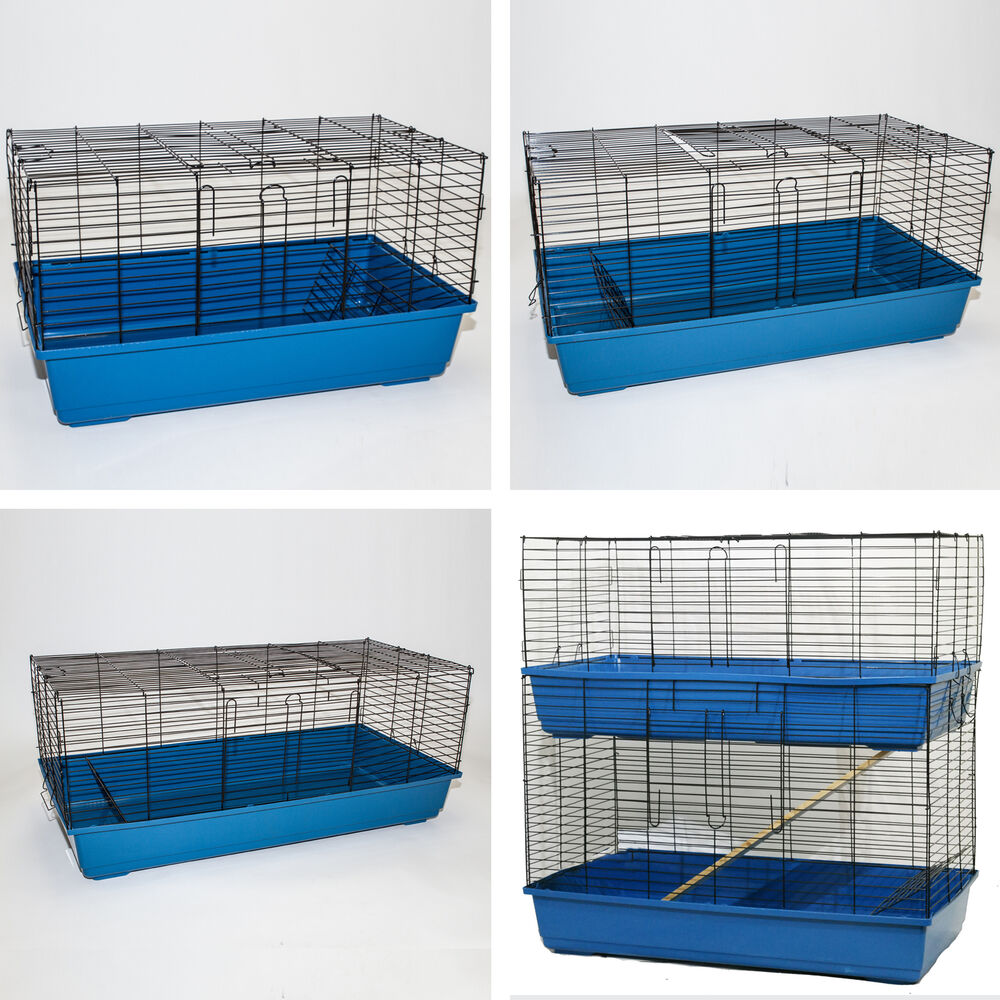 large indoor rabbit guinea pig cage indoor hutch run double decker layer 4 sizes ebay. Black Bedroom Furniture Sets. Home Design Ideas