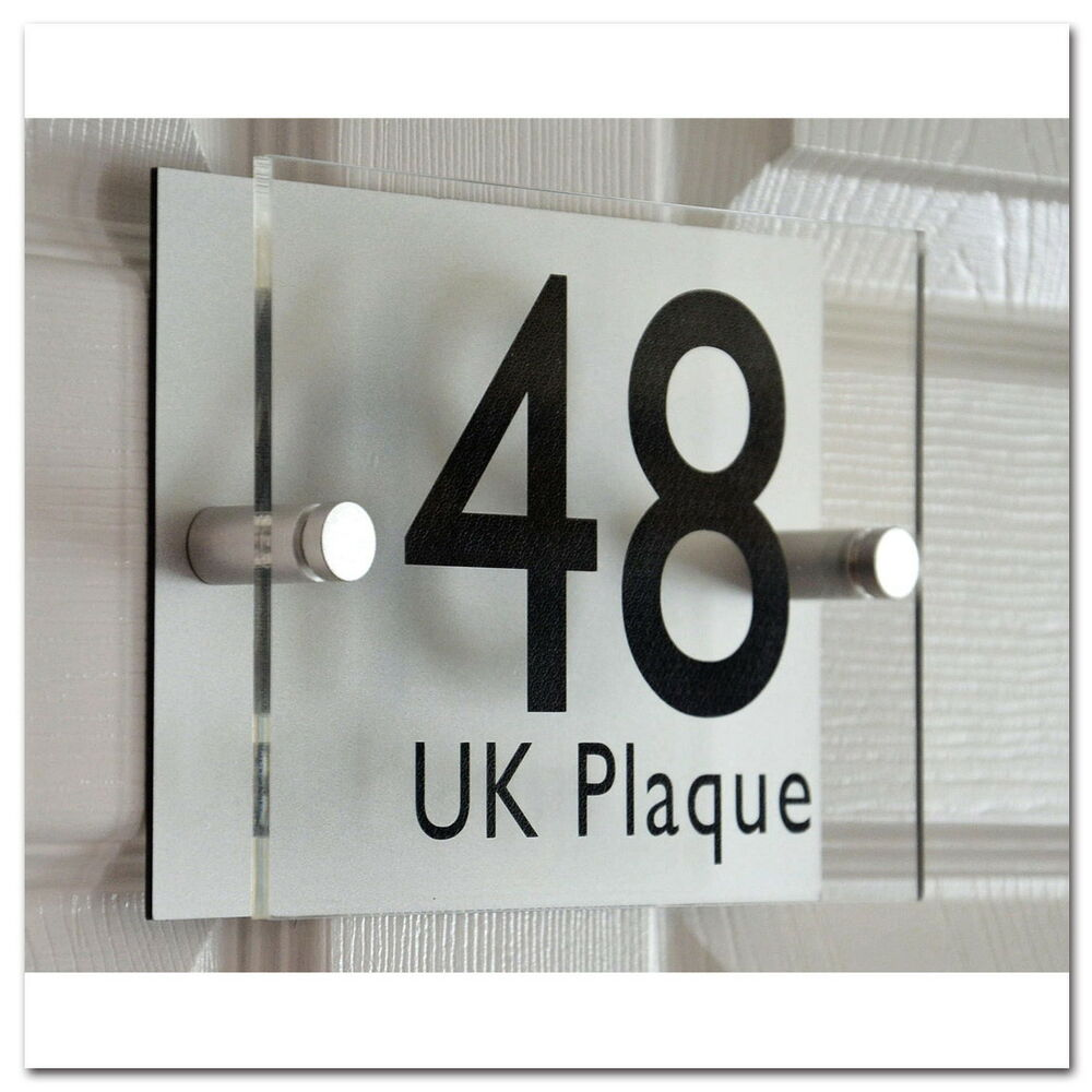 Personalised modern house sign door number home street for Classic house name plates