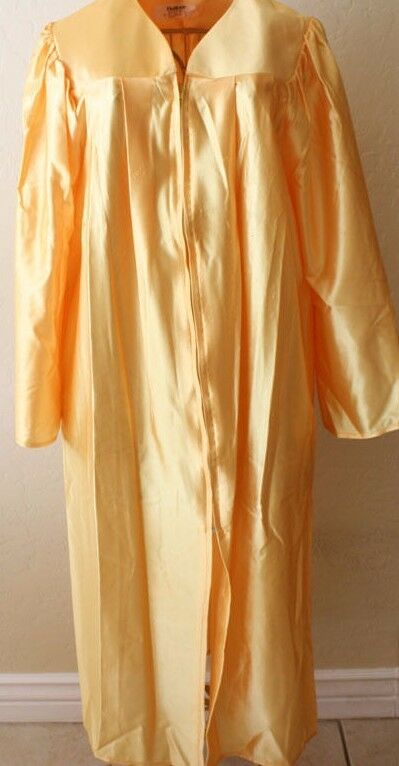 Gold Yellow Shiny Graduation Gown Costume Choir Robe Adult