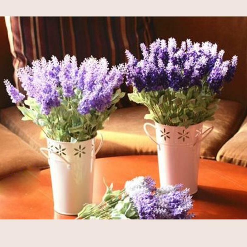 Fake bouquet lavender silk flower home wedding garden for Floral decorations for home