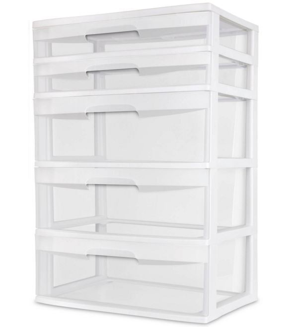 5 Drawer Wide Box Tower Heavy Plastic Storage Container