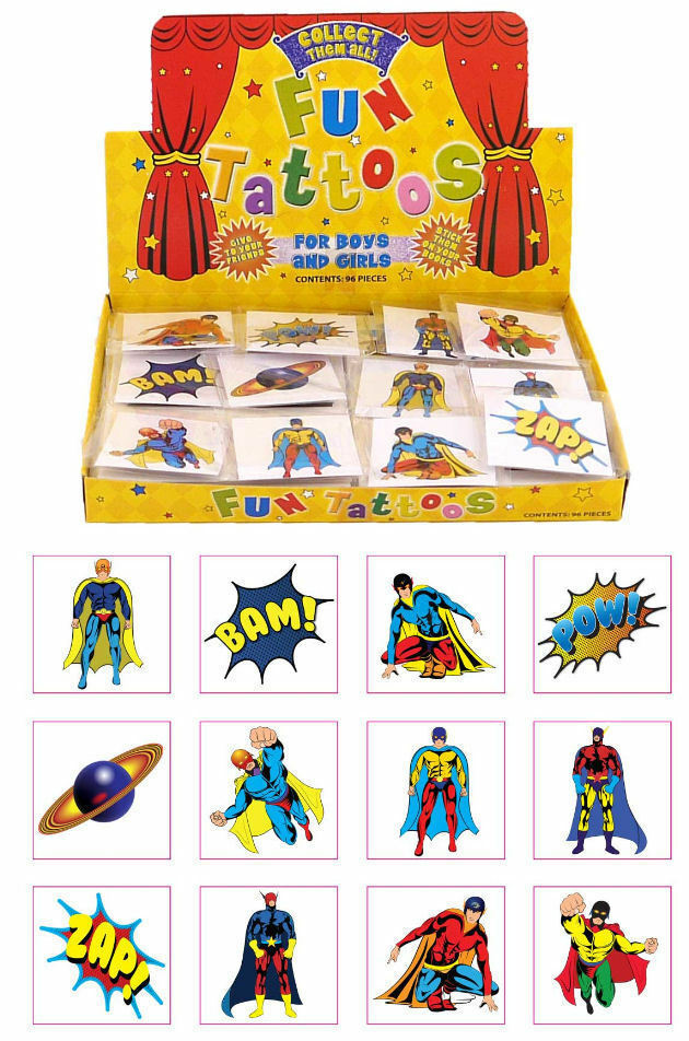 72 super hero temporary tattoos 6 bags of 12 party bag for Superhero temporary tattoos
