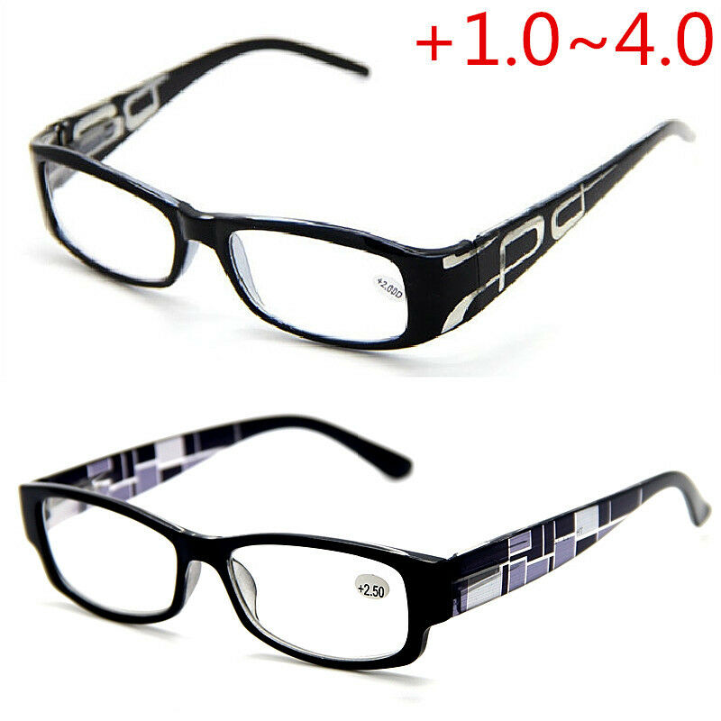 Mens Black Frame Reading Glasses : Mens Black Frame Prints Legs Spring Hinges Reading Glasses ...