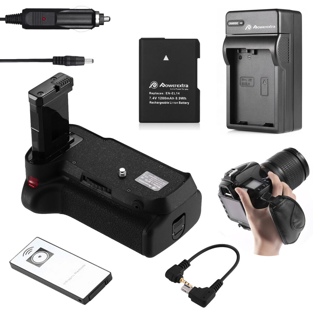 battery grip for nikon d3200 d3100 d3300 dslr en el14 battery charger strap ebay. Black Bedroom Furniture Sets. Home Design Ideas