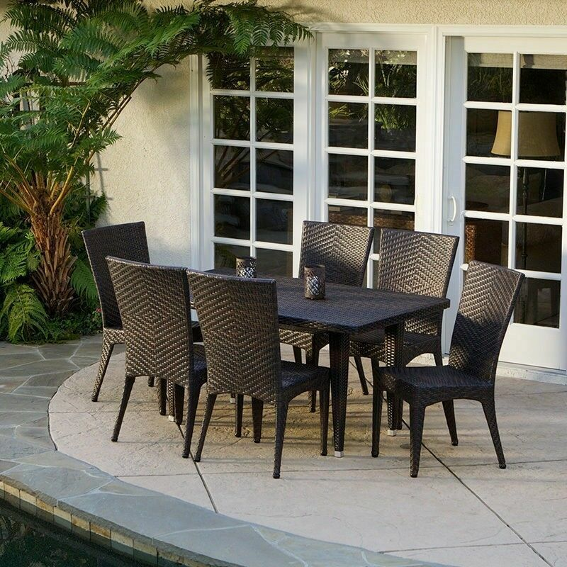 outdoor patio set 7 outdoor patio furniture brown all weather wicker 30240