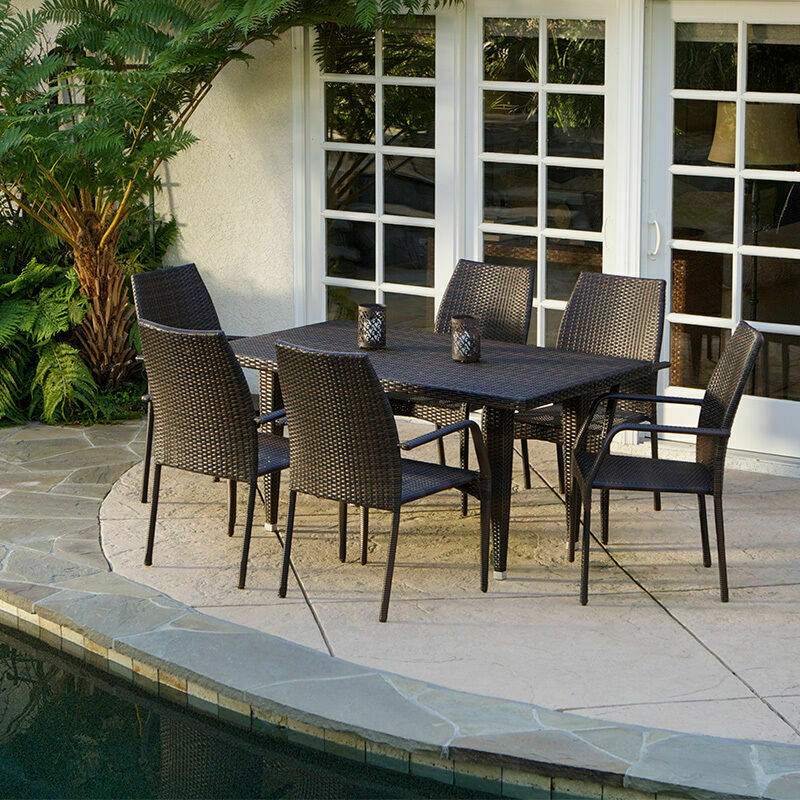 7 piece outdoor patio furniture brown all weather wicker for Outdoor furniture 7 piece