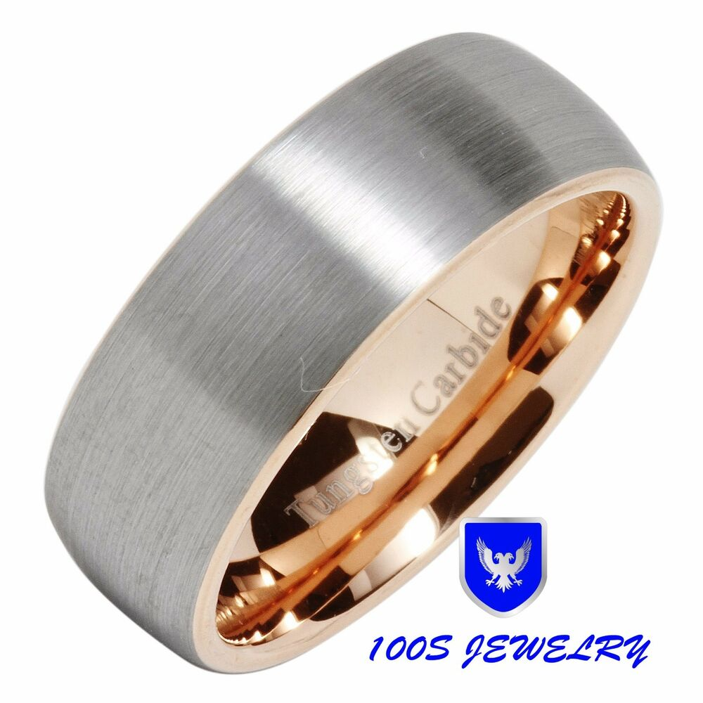 mens tungsten carbide ring wedding band rose gold brushed center size
