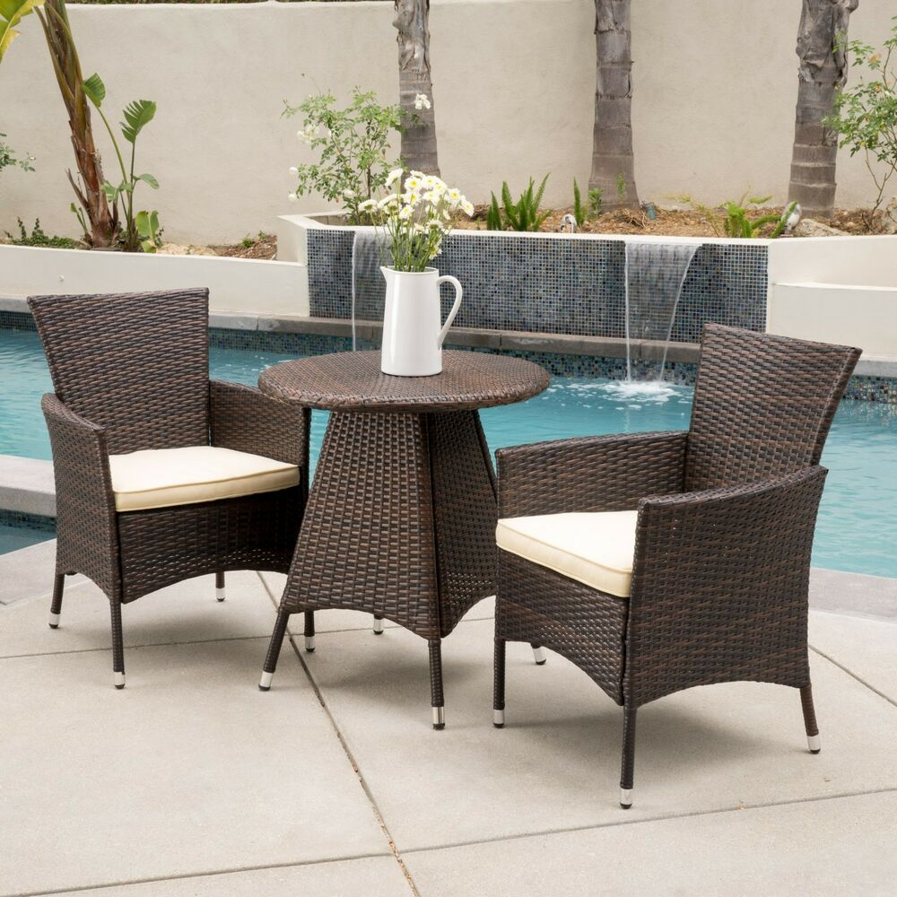 3 Piece Outdoor Patio Furniture Multibrown Wicker Bistro Set W Cushions Ebay