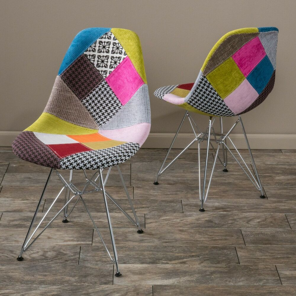 Set Of 2 Modern Eclectic Inspired Multi Color Patchwork