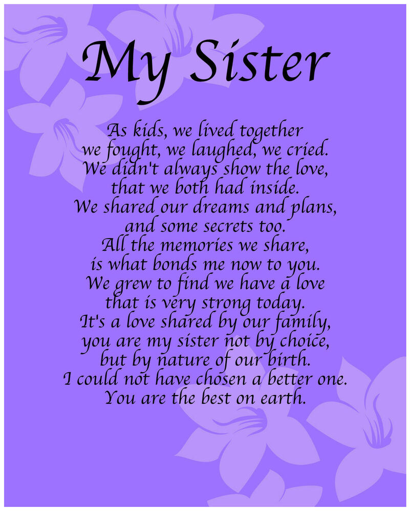 Personalised My Sister Poem Birthday Anniversay Leaving ...