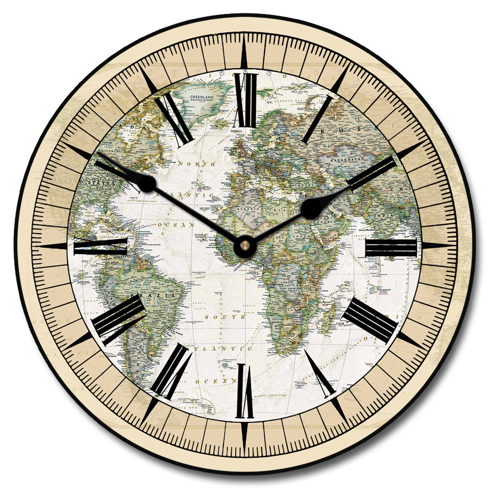 large wall nautical world map clock 10 48 whisper quiet non ticking ebay. Black Bedroom Furniture Sets. Home Design Ideas