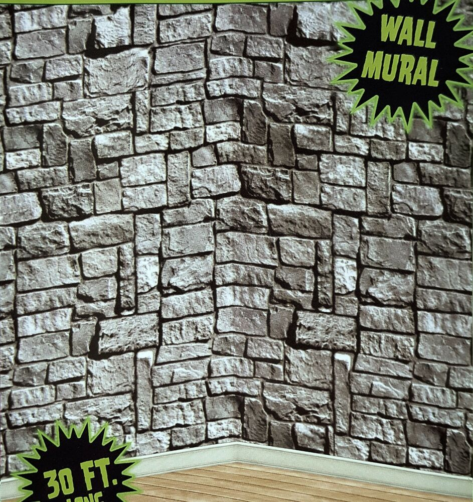 30ft stone dungeon medieval castle walls mural halloween for Wall scenes