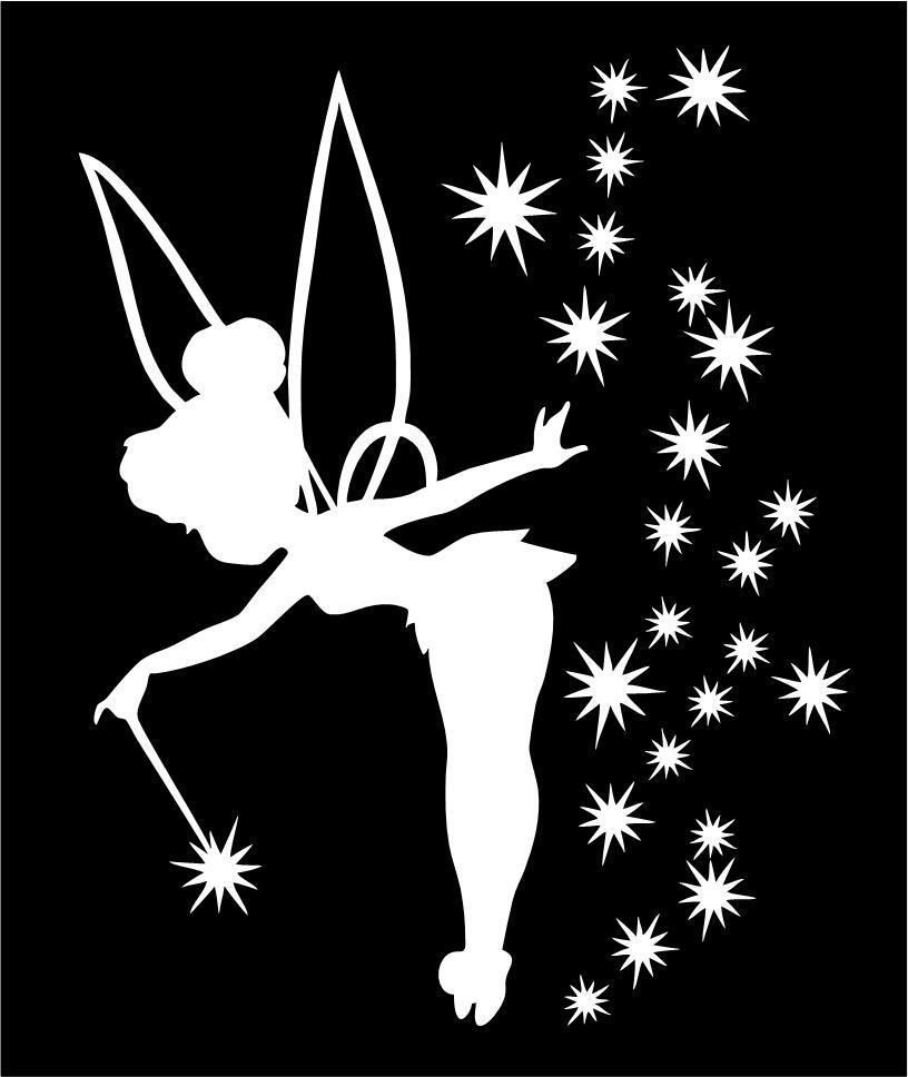 Tinkerbell car truck wand silhouette vinyl sticker decal for Black and white tinkerbell